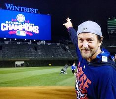 1cb860e6d26 October Pearl Jam s Eddie Vedder celebrate the Chicago Cubs winning the  NLCS after defeating the Los Angeles Dodgers in game six of the 2016 NLCS  playoff ...
