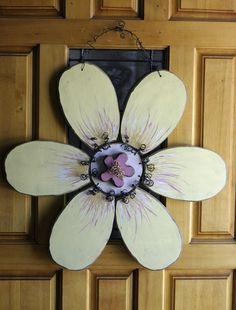 Large White Flower Door hanger