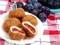 """Plum dumplings, or """"szilvásgombóc"""" in Hungarian, is a Central and East European dish. The plum dumplings can be eaten as dessert, as a main dish or side dish. Hungarian Desserts, Hungarian Cuisine, Hungarian Recipes, Turkish Recipes, Hungarian Food, Sweet Recipes, New Recipes, Cooking Recipes, Favorite Recipes"""