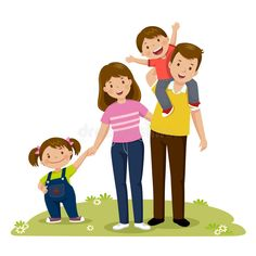of four member happy family posing together. Th kids ,Portrait of four member happy family posing together. Th kids , Family Vector, Kids Vector, Family Set, Happy Family, Happy Parents, Happy Kids, Muslim Family, Rainbow Painting, Family Illustration