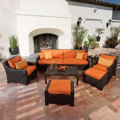 RST Brands Deco 8 Piece Patio Seating Set With Tikka Orange Cushions