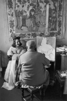 Henri Cartier-Bresson     Henri Matisse Painting, Vence, France     1944