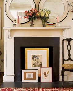 Simple Fireplace Covered with Pictures