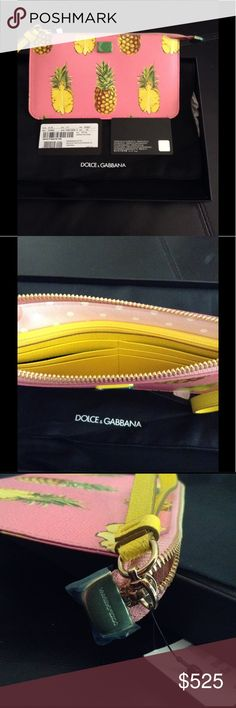 Dolce&Gabbana Pineapple leather wristlet Dolce & Gabbana's pouch is made from pink textured-leather and printed with pineapples - a cheerful symbol of hospitality and a key motif for Spring '17. This style opens to a polka-dot interior that's fitted with six card slots and a zipped pocket. Carry yours by the bright-yellow strap or use it to keep smaller items secure in the brand's tote.  - Multicolored textured-leather (Calf) - Zip fastening along top - Made in Italy Dolce & Gabbana…