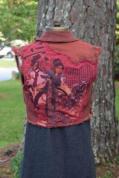 Geisha Asian Warrior Japanese Samurai love small denim vest