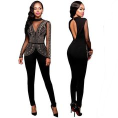 b8e6ea75b74 Rompers Winter Autumn Club Party Black Red blue O-neck Hot Drilling Long  Mesh Sleeves Bodycon Jumpsuit Plus Size