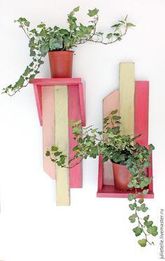 Купить Полочка для цветов - фуксия, полка, полка для цветов, декор стен, цветочница, комнатные цветы