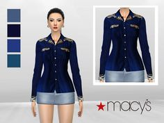Indonesian Art Denim Blouse by McLayneSims at TSR via Sims 4 Updates