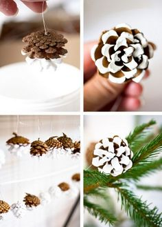 Handmade Christmas craft from pinecones photo