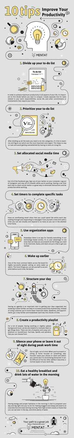 Infographic | 10 tips: Improve your productivity |   From dividing your to-do list, prioritization and organization apps to structuring your day