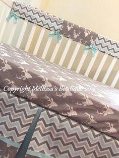 Rustic Deer & Chevron Grey and Light Aqua Baby Nursery Crib Bedding Set made with Designer Fabrics M Deer Baby Bedding, Nursery Bedding Sets Girl, Nursery Crib, Chevron Bedding, Aqua Bedding, Rustic Bedding Sets, Nursery Accessories, Rustic Nursery, Bed Styling