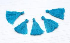 Mini Tassels, 5 Pieces Tiny Bondi Blue Tassels - Cotton Tassels - PS021 by…