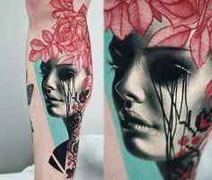 Beautiful graphic portrait tattoo