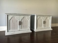 Shabby Chic Gray, White & Silver End Tables / Nightstands - $200 - SOLD