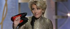 Emma Thompson continued her campaign against the cruelty of high heels at last night's Golden Globes, arriving onstage barefoot like a wonderful comfort-loving goddess.