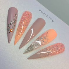 In search for some nail designs and ideas for your nails? Here's our list of 35 must-try coffin acrylic nails for trendy women. Hot Nails, Nude Nails, Hair And Nails, Acrylic Nails, Coral Nails, Coral Nail Art, Stiletto Nails Glitter, Fancy Nails, Bling Nails