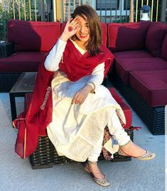 White and red salwar suit Pakistani Dress Design, Pakistani Outfits, Indian Wedding Outfits, Indian Outfits, Indian Dresses, Indian Attire, Indian Wear, Chic Outfits, Fashion Outfits