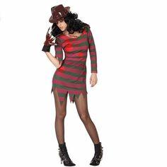 Halloween Freddy kostuum voor dames. Deze moordenaars outfit bestaat een gerafeld groen/rood gestreept jurkje besmeurd met bloedvlekken. Materiaal: polyester. Exclusief handschoen en hoed.