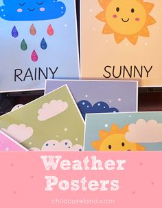 Weather Posters Early Learning Activities, Classroom Activities, Weather Unit, Sunny Weather, Eyfs, Childcare, Early Childhood, Coloring Pages, Kindergarten