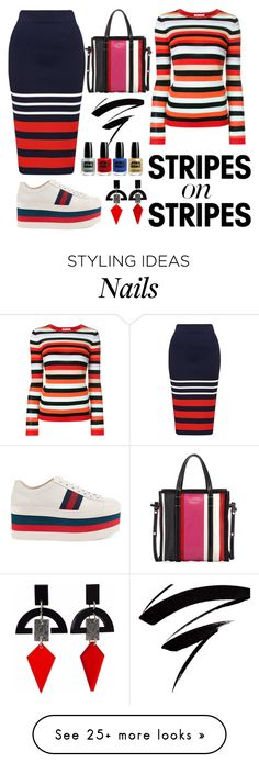 """""""more more stripes"""" by tyttaya on Polyvore featuring Bella Freud, Balenciaga, Toolally, Gucci, stripesonstripes and PatternChallenge"""