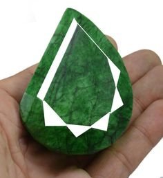 628ct Big Natural Certified Pear Pendant Size Green Emerald Loose Rare Gemstone