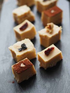 Nothing can beat these fudge petit fours topped with walnut, black salt, and sour cherry.