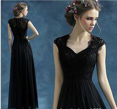 Floor Length Cap Sleeve Evening Gowns Lace Appliques V Neck  Chiffon Black Evening Dresses 2015 vestido de festa longo