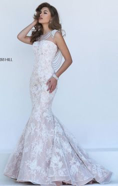 Ivory/Nude Sherri Hill 11334 Boat-Neck Beaded Long Mermaid Gown 2016