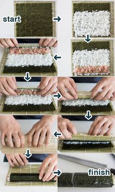 Follow these step-by-step instructions from @Marc Matsumoto to make your own sushi!