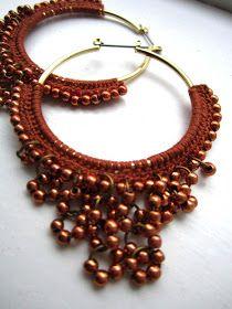 Crocheted hoops with beads in Brown ♥ by BohemianHooksJewelry Diy Crochet Jewelry, Crochet Bracelet, Crochet Art, Fabric Jewelry, Crochet Accessories, Jewelry Crafts, How To Make Earrings, Diy Earrings, Fashion Earrings