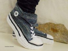 Crochet pattern slippers, gym shoes size 36 - 45