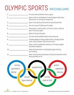 Worksheets: Olympic Sports