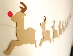 Reindeers and Sleigh Paper Garland 5 ft. by BluefinWorks on Etsy