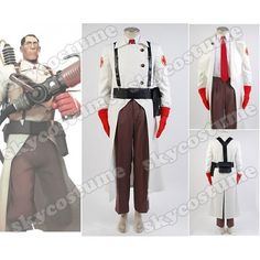 Team Fortress 2 Medic Suit Uniform Game Cosplay Costume S002