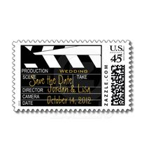 Shop Save the Date Movie Theme Wedding Postage created by stampgallery. Personalize it with photos & text or purchase as is! Cinema Themed Wedding, Wedding Movies, Wedding Scene, Dream Wedding, Wedding Planning, Wedding Ideas, Wedding Reception, Wedding Postage, Wedding Invitations