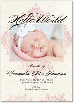 Girl Photo Birth Announcements Opulent Damask - Front : Rose