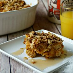 Overnight Pumpkin Spice French Toast Casserole: Whole wheat bread cubes are soaked overnight in a pumpkin insfused custard then topped with a streusel topping, creating a rich French Toast casserole better than any Spiced Latte on the market.