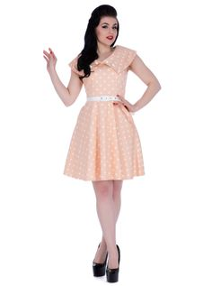 Bardot Polka Dot Flare Dress by Voodoo Vixen at InkSpired Shop. Polka dot vintage inspired knitted dress in peach featuring a wide collar and contrast white belt. Robe Swing, Swing Dress, Dress Skirt, Pin Up Outfits, Retro Outfits, Dress Outfits, Retro 50, Retro Vintage, Retro Style