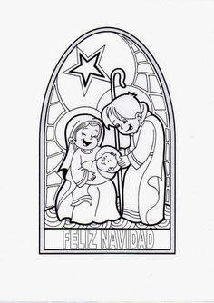Vitral navideño sagrada familia