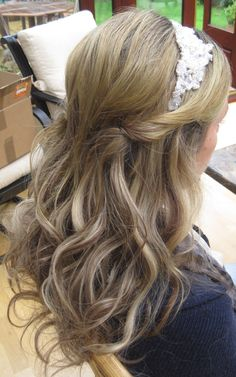 Wedding hair - half up half down www.weddingmakeupandhairstyling.co.uk  Bridal Hair & Makeup by Katy Richards