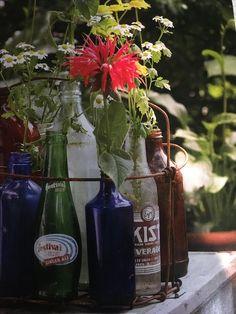 Antique bottles in basket