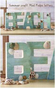 Easy Beach Craft: DIY Letters – Mod Podge Rocks Do a fun project for summer! This DIY letter beach craft would look perfect on your mantelpiece – and it's very easy to assemble with Mod Podge. Diy Letters, Letter A Crafts, Wooden Letters, Crafts To Sell, Diy Crafts, Stick Crafts, Bead Crafts, Handmade Crafts, Decor Crafts
