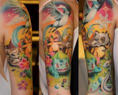 Pokemon Tattoo Complete Arm Sleeve Of Pokemon Characters! #Pokemon #PokemonTattoo #Tattoo