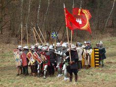 Steffonische voetsoldaten gelieerd aan een rijk huis, te zien aan de goede uitrusting en aanwezige heraldiek.