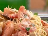 """I might try this with butternut squash """"spaghetti"""". Shrimp Scampi with Artichokes and Basil Recipe"""