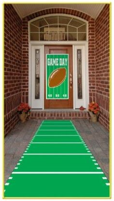 gameday football banner leading to the front door, superbowl party ideas SUPER BOWL 2014 – FOOTBALL PARTY SUPPLIES WITH FREE SHIPPING OPTIONS