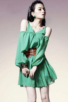 Wholecolored V-neckline Medium Sleeve Mini Dress - OASAP.com