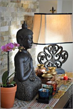 Buddha, peaceful corner, zen, home decor, interior styling, console decor, Buddha decor, Buddha love, on the table, brass artifacts, Indian home decor