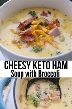 This hearty and delicious Keto Ham Soup recipe is chock full of broccoli and cheese for a cozy and comforting meal. It's easy to make and the perfect way to use leftover ham. keto soup recipes / low c Low Carb Soup Recipes, Diet Recipes, Chicken Recipes, Healthy Recipes, Low Carb Soups, Dessert Recipes, Keto Chicken, Chicken Soup, Shrimp Recipes