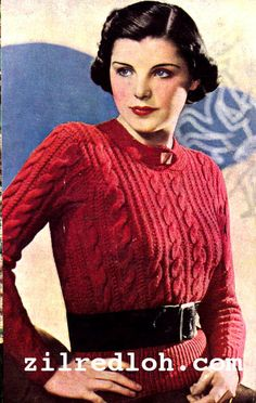 The Vintage Pattern Files: 1930's Knitting - Cable Jumper